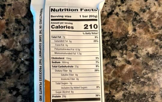 nutrition facts on S'mores one bar