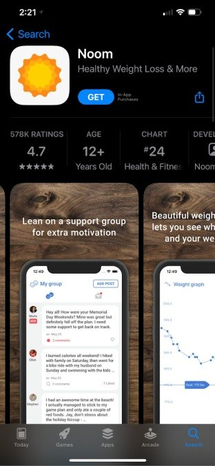 noom app showing support groups