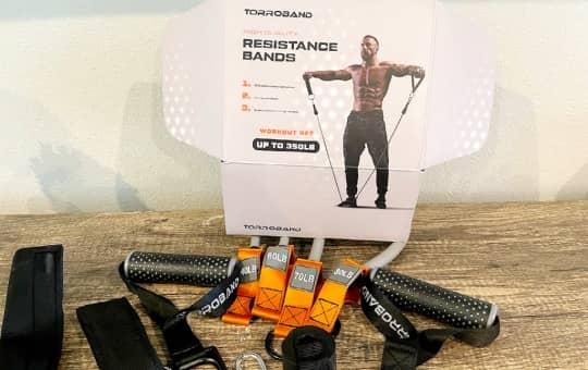 box of torroband and workout gear