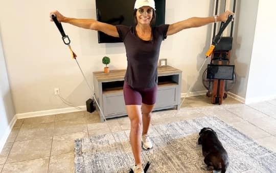 tami working out with torroband resistance bands