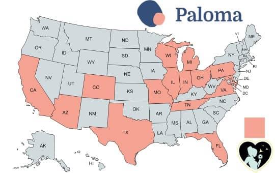 Paloma Health service availability US Map