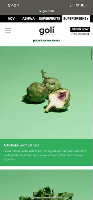 artichoke leaf extract in goli supergreens gummies