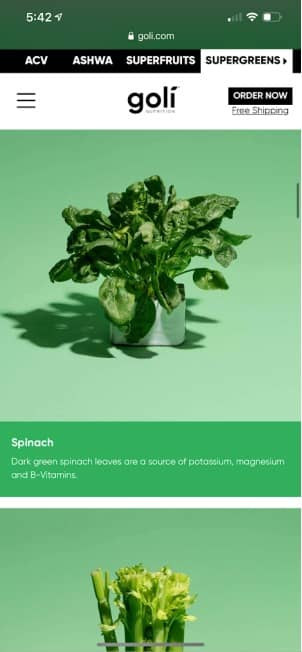 spinach in goli supergreens gummies