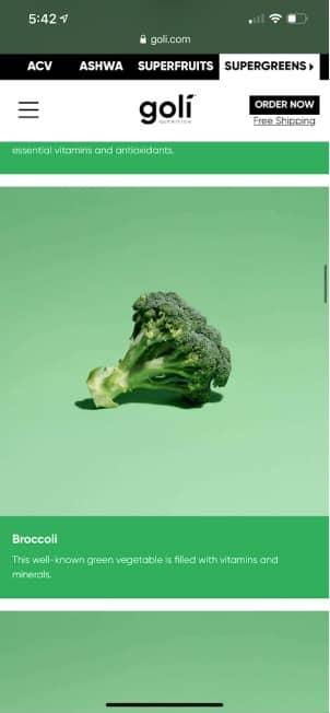 broccoli in goli supergreens gummies
