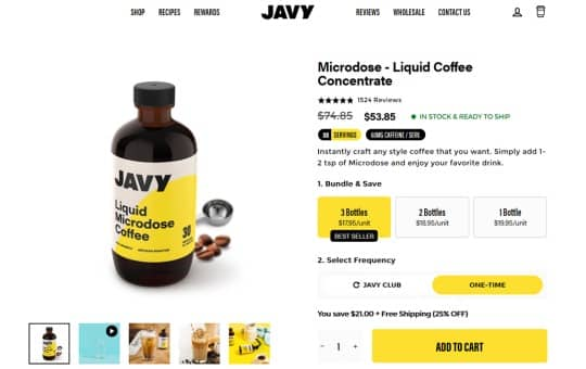 one time javy coffee cost (without membership)