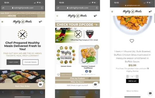 ordering process mighty meals mobile website