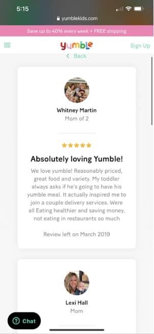 real yumble customer testimonial 1