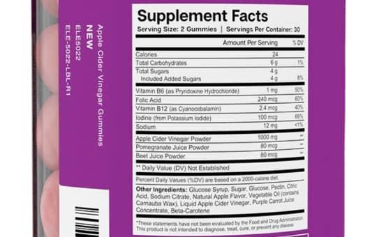 supplement facts essential elements acv gummies