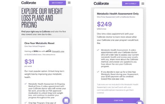pricing and cost for calibrate weight loss program